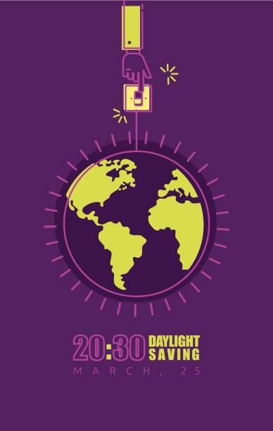 earth hour poster with hand turning off the light - daylight savings time stock illustrations, clip art, cartoons, & icons