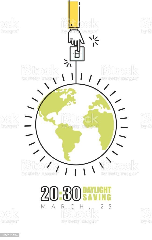 Affiche heure terre avec la main, éteindre la lumière - Illustration vectorielle