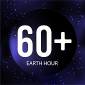 Earth hour banner. Earth, space, stars and text on dark blue background. Vector illustration