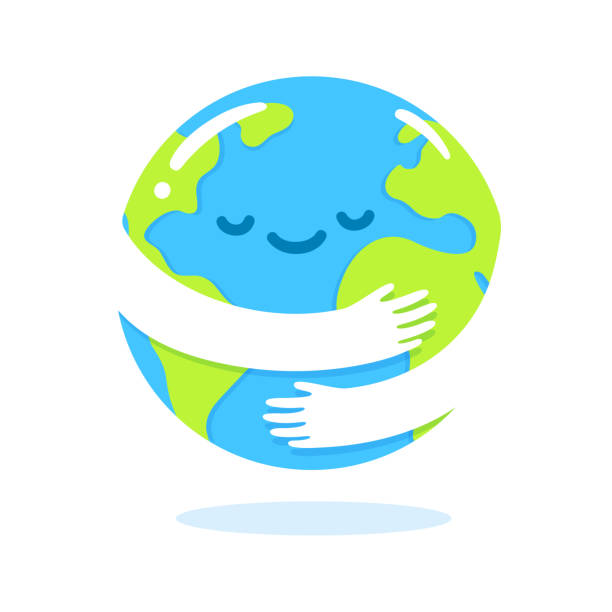 Earth hug cartoon Save the planet, Earth hug drawing. Cute cartoon Earth Day vector clip art illustration. earth day stock illustrations