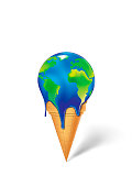 earth  ice cream is melting isolated on a white background vertical vector illustration