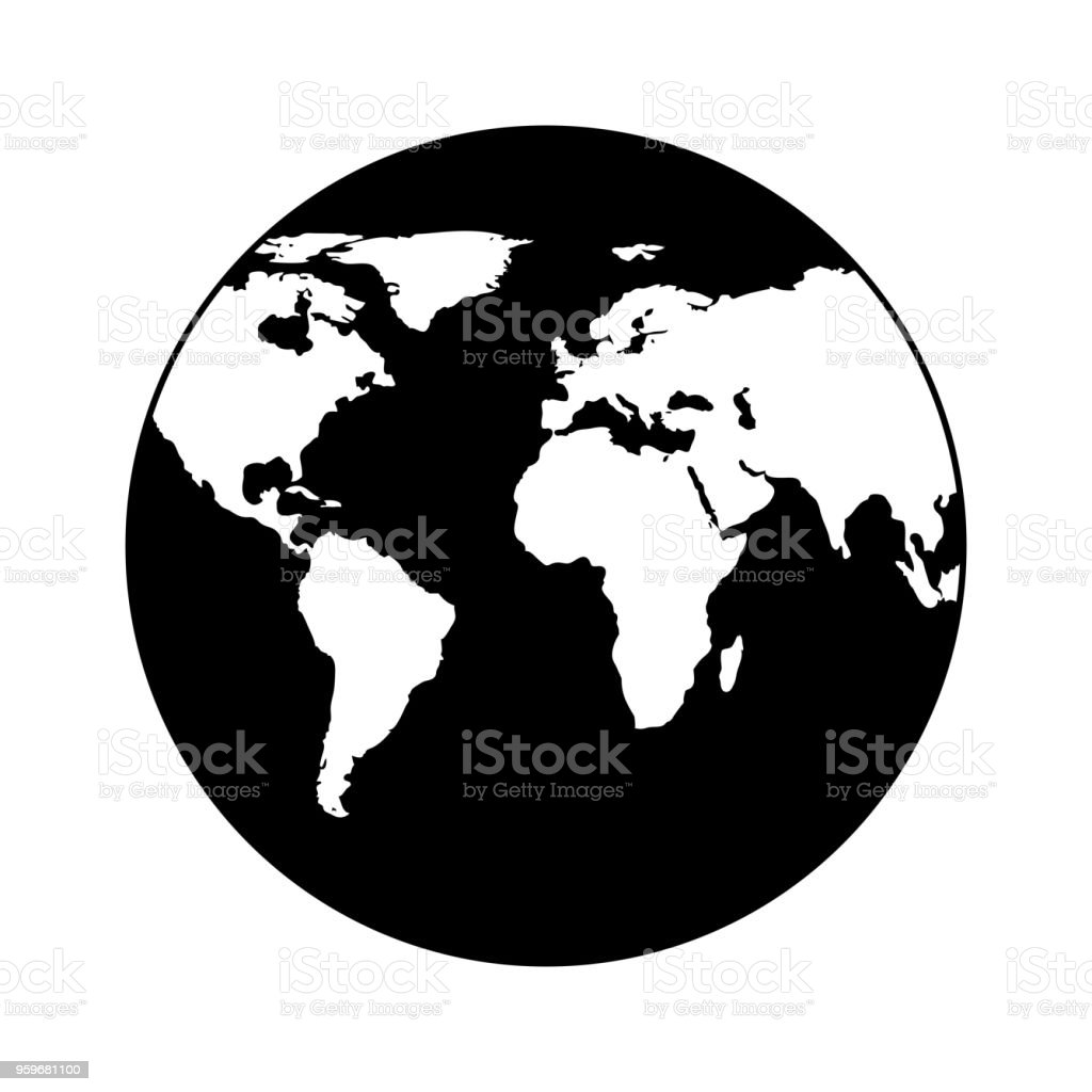 Flat World Map Vector.Earth Icon Globe In Trendy Flat Style Isolated On White Background