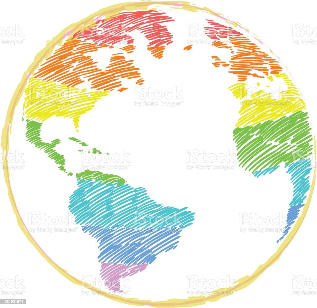 Earth icon handdrawn in rainbow color on white background world map earth icon hand drawn in rainbow color on white background world map in doodles gumiabroncs Gallery