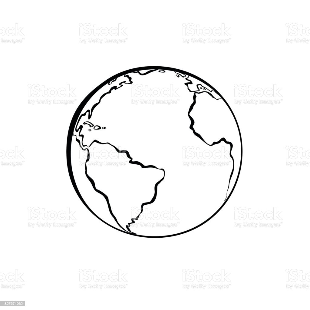 Earth icon handdrawn on white background world map or globe in earth icon hand drawn on white background world map or globe in doodles style gumiabroncs Gallery