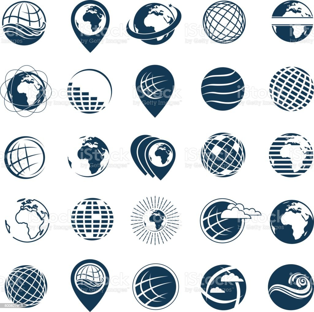 earth icon set vector art illustration