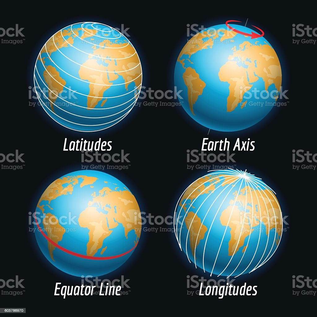 Earth icons with latitudes longitudes lines vector art illustration