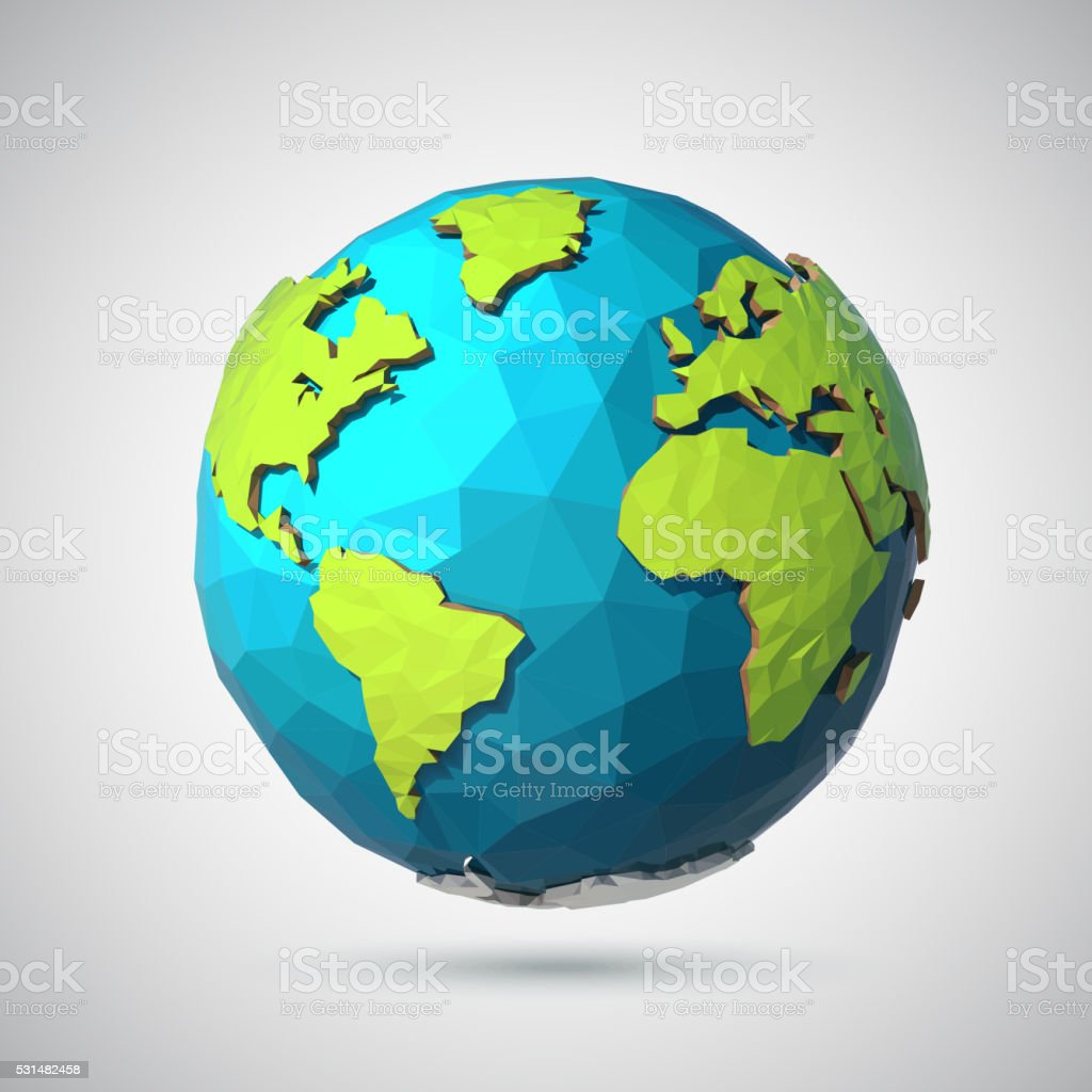 Earth illustration in Low poly style. Polygonal globe icon vector art illustration