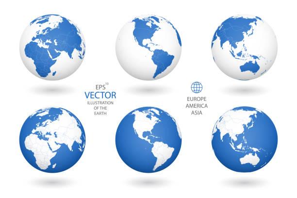 白い背景に地球のイラスト。 - アジア点のイラスト素材/クリップアート素材/マンガ素材/アイコン素材