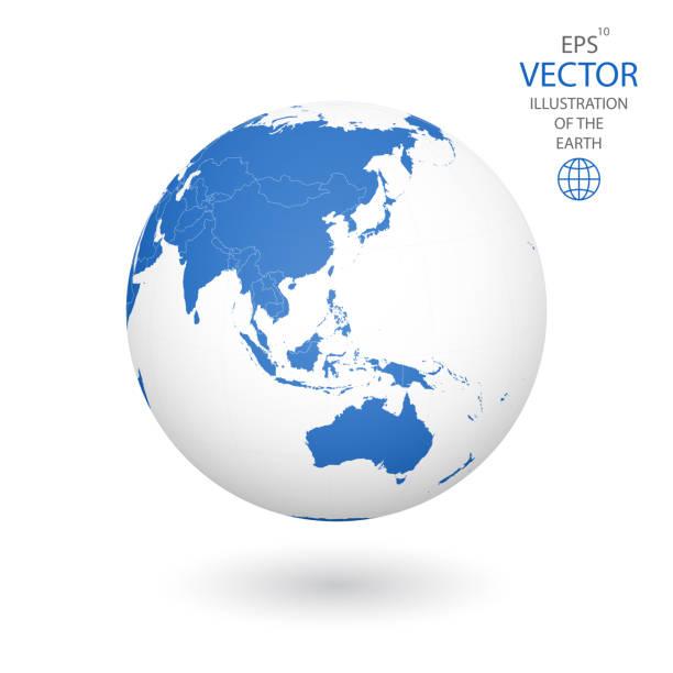 白い背景に地球のイラスト。 - 地球 日本点のイラスト素材/クリップアート素材/マンガ素材/アイコン素材