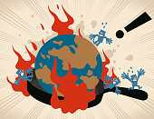 Blue Characters Full Length Vector Art Illustration. Earth (world globe) in a cooking pan (frying pan) with flames, people escaping and screaming. climate change, water shortage, over-exploitation, ecological environment degradation, famine.