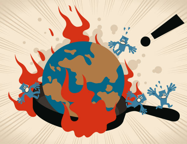 ilustrações de stock, clip art, desenhos animados e ícones de earth (world globe) in a cooking pan (frying pan) with flames, people escaping and screaming - burned cooking