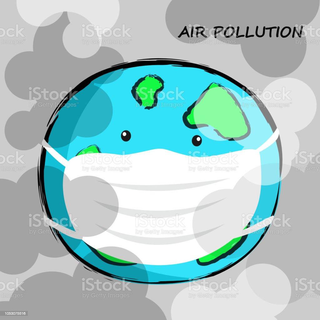 防毒マスクの地球有害大気汚染概念ベクトル漫画のイラスト