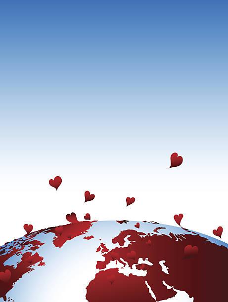 Earth in love vector art illustration