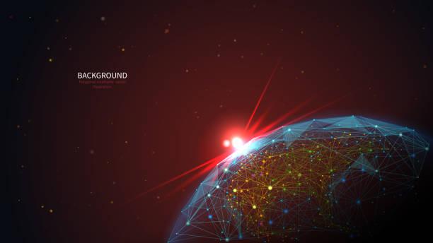 ilustrações de stock, clip art, desenhos animados e ícones de earth in space low poly art illustration - wireframe solar power