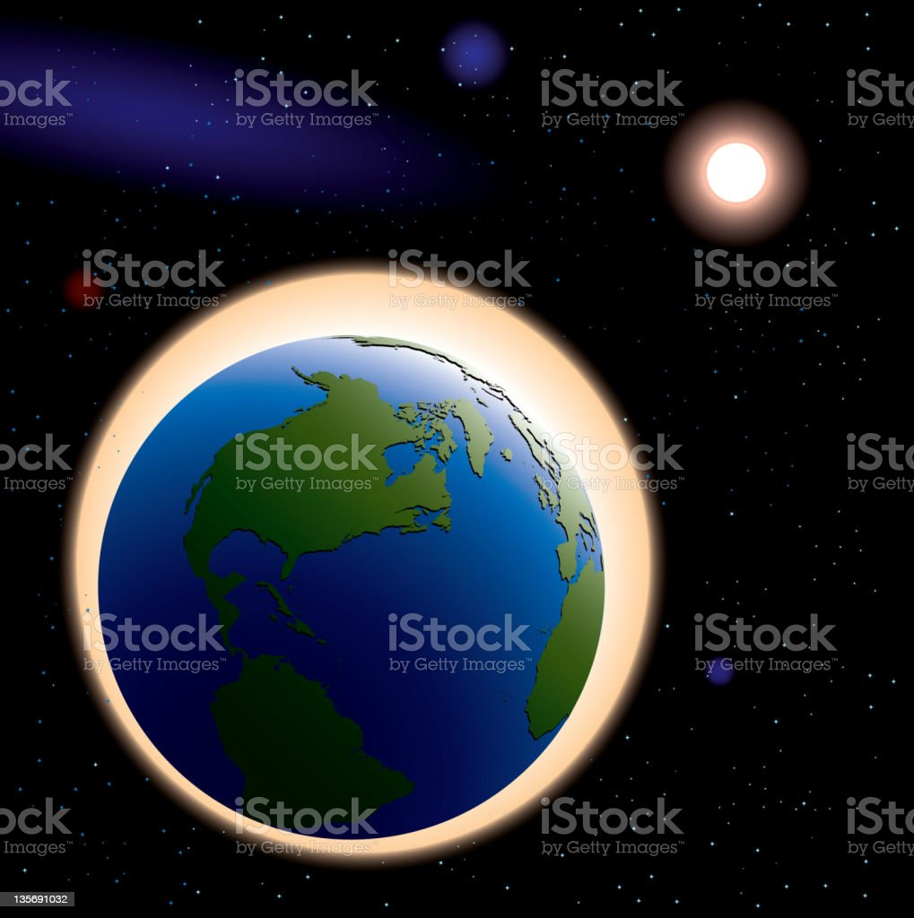 Earth in space vector art illustration