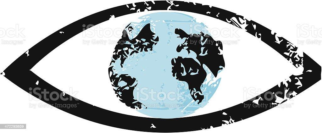 Earth Inside Eye vector art illustration