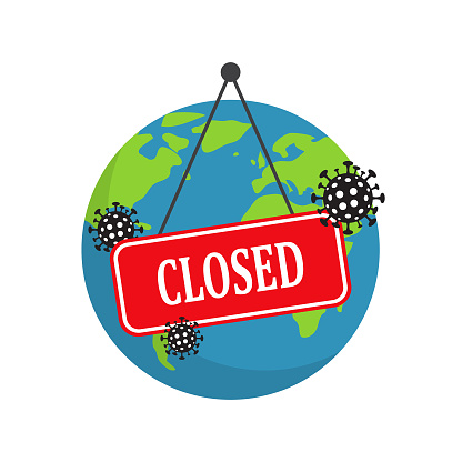 Earth Is Closed Planet Earth Closed Coronavirus Covid19 Concept ...