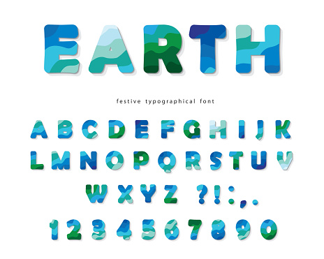 Earth landscape modern font. Blue and green ABC letters and numbers isolated on white. Creative alphabet for environment, ecology, travel design. Vector