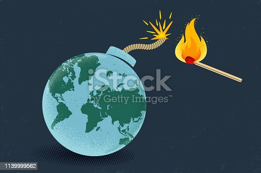 Vector vintage poster of a bomb with World map and match in fire. Earth like bomb with match in fire. Peace.
