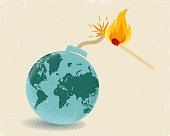 Vector vintage poster of a bomb with World map and match in fire. Earth like bomb with mathch in fire.