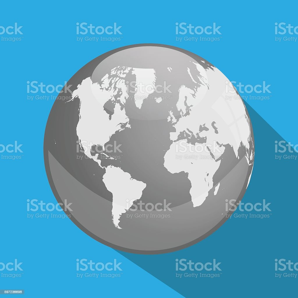 Earth Long Shadow vector art illustration