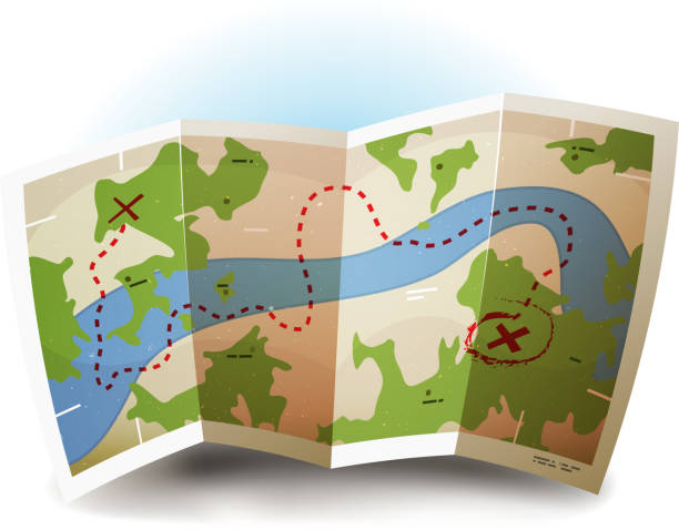 earth map icon - river paper stock illustrations, clip art, cartoons, & icons