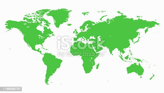 Earth map on white background isolated.