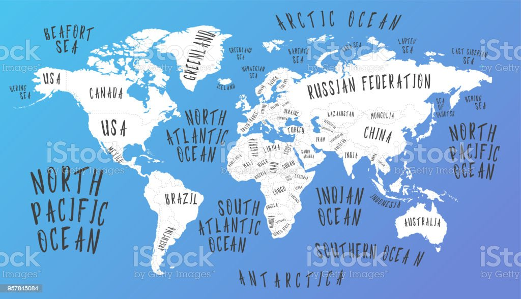 Earth Map With The Name Of The Countries Stock Illustration ... on