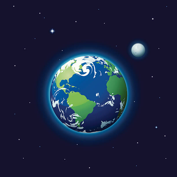 & earth moon - space background stock illustrations