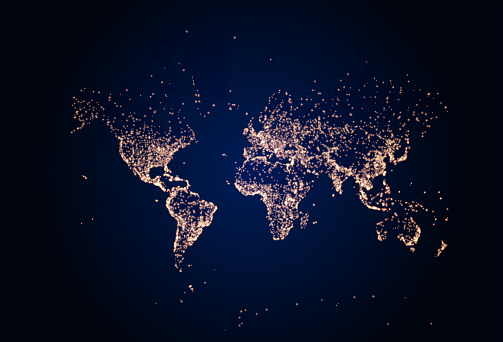 Earth night map. illustration of cities lights from space. Dark map
