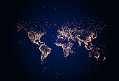 istock Earth night map. Vector illustration of cities lights from space. Dark map 1276998808