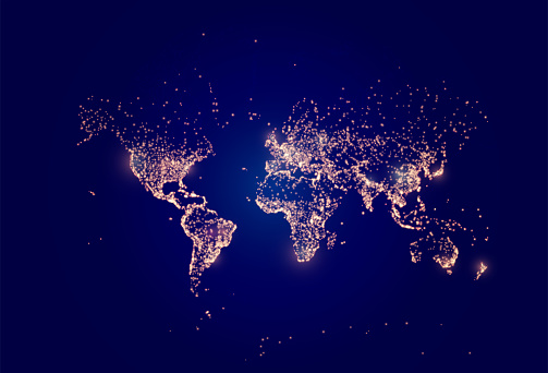 Earth night map. Vector illustration of cities lights from space. Dark globe map