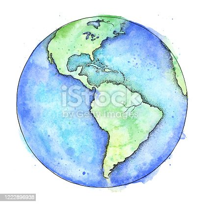 istock Earth Pen and Watercolor Illustration - Vector EPS10 1222896938
