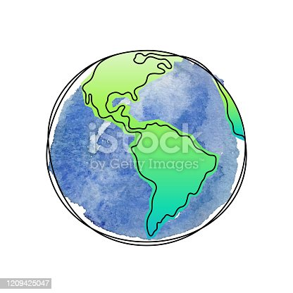 The Earth watercolor continuous line vector illustration