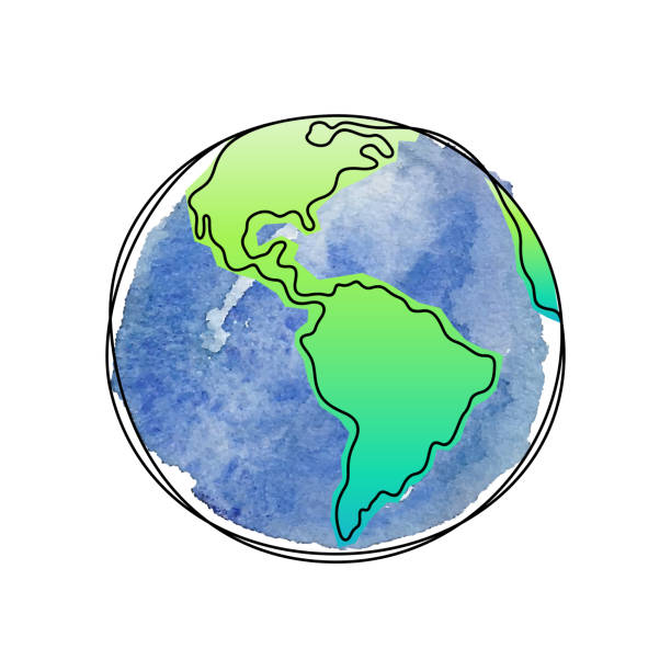 Earth Planet artistic vector illustration The Earth watercolor continuous line vector illustration earth day stock illustrations