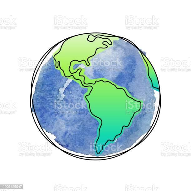 Earth Planet Artistic Vector Illustration - Arte vetorial de stock e mais imagens de Abstrato