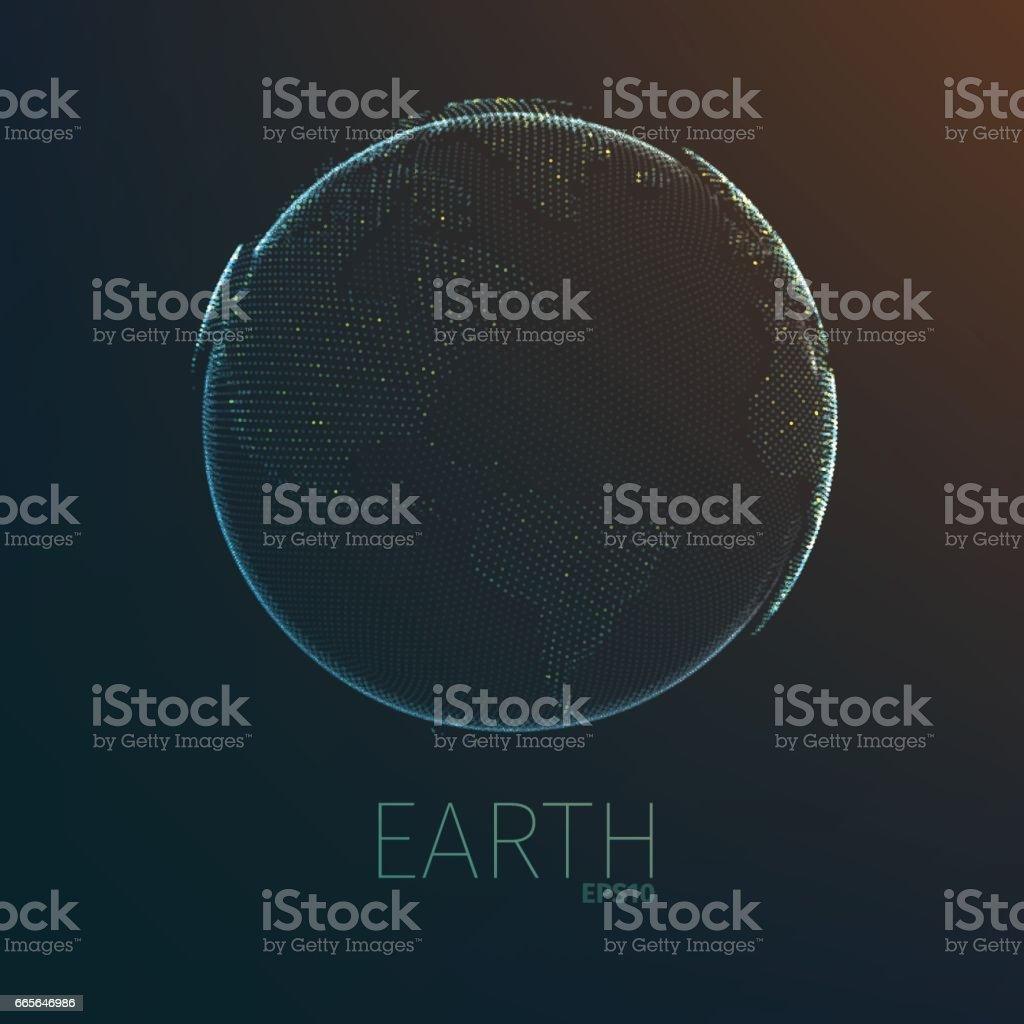 Earth planet futuristic hologram. Vector globe hud. Technology sphere vector art illustration