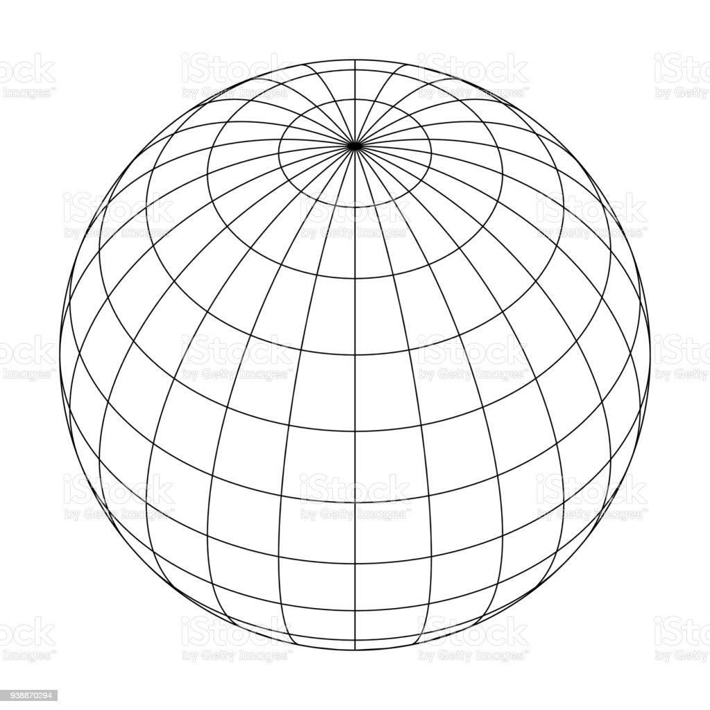 Earth Planet Globus Raster von Meridianen und parallelen, oder Längen- und Breitengrad. 3D Vektor-illustration – Vektorgrafik