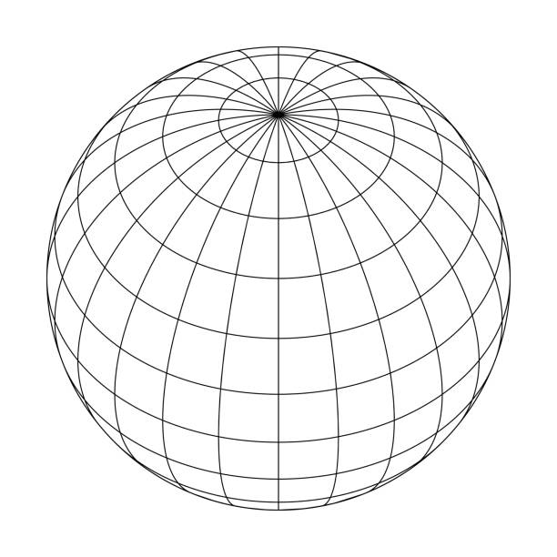 ilustrações de stock, clip art, desenhos animados e ícones de earth planet globe grid of meridians and parallels, or latitude and longitude. 3d vector illustration - latitude
