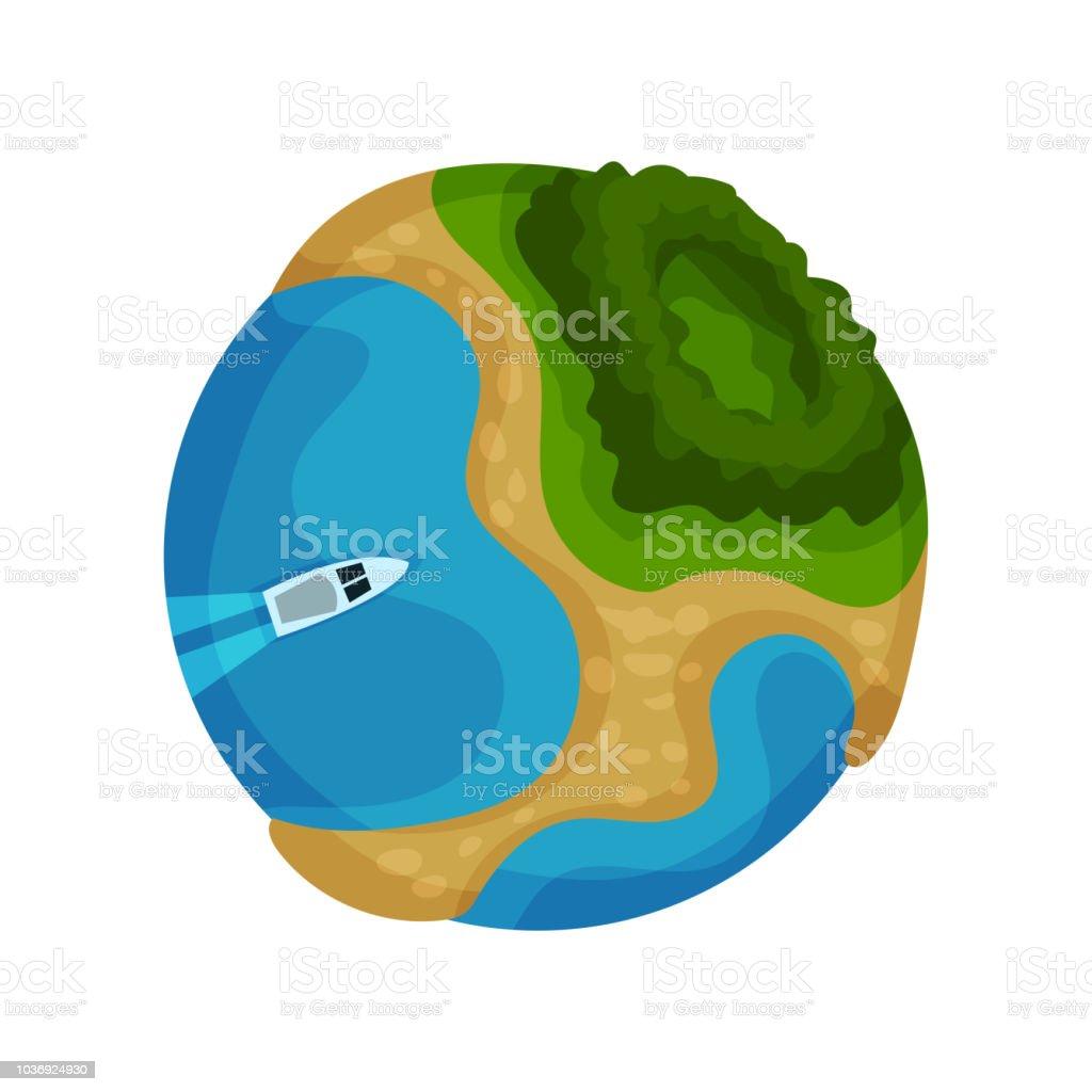 熱帯の島とパワーボート ベクトル イラスト白背景に地球地球地球