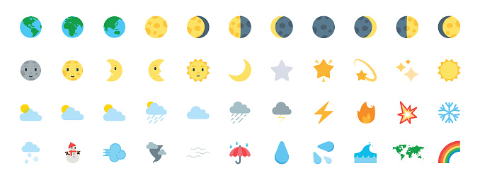 Earth, Planet Icons Vector Set. All Type of Moon Faces. Weather Icons Collection. Temperature, Cloud, Sky Symbols, Emojis Set - Vector