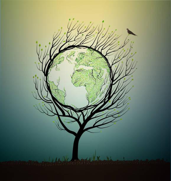 erde-planet-map erstellt aus den blättern und sieht aus wie frühling baum wächst auf böden, grüner planet eco-konzept, - gartenskulpturkunst stock-grafiken, -clipart, -cartoons und -symbole