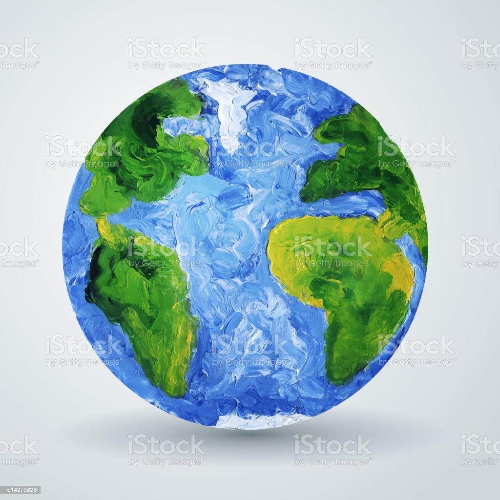 Ziemia Planeta Malowane W Oleju Stockowe Grafiki Wektorowe I