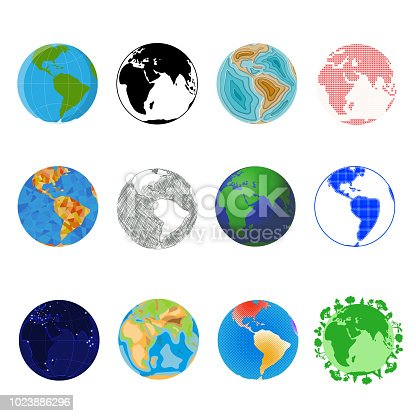 Earth planet vector global world universe and worldwide universal globe illustration worldly set of earthed sphere logo with continents and ocean isolated on white background.