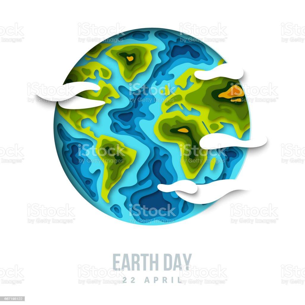 Planeta tierra con nubes, diseño de corte de papel 3d - ilustración de arte vectorial