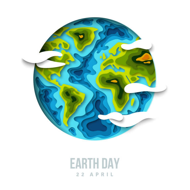 earth planet with clouds, 3d paper cut design - earth day stock illustrations, clip art, cartoons, & icons