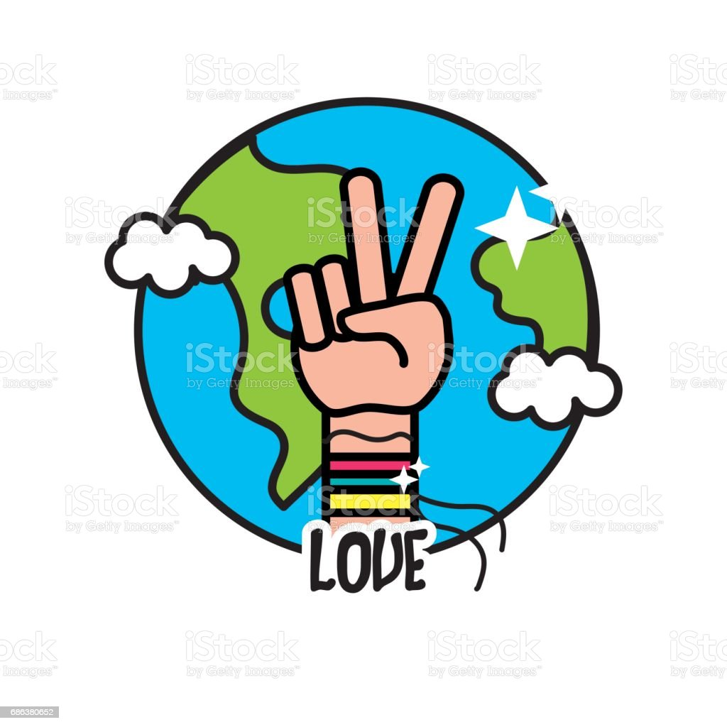 Earth planet with hand symbol of peace and love stock vector art earth planet with hand symbol of peace and love royalty free earth planet with hand buycottarizona Choice Image