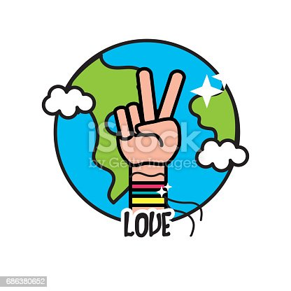 Earth Planet With Hand Symbol Of Peace And Love Stock Vector Art