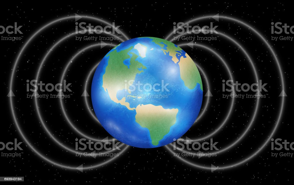 earth planet with magnetic field on a black background vector art illustration