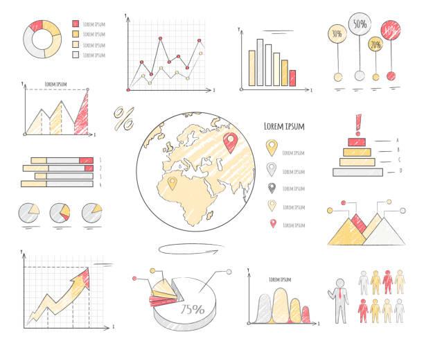 ilustraciones, imágenes clip art, dibujos animados e iconos de stock de ilustración de gráficos de estadísticas de la población terrestre - infografías demográficas